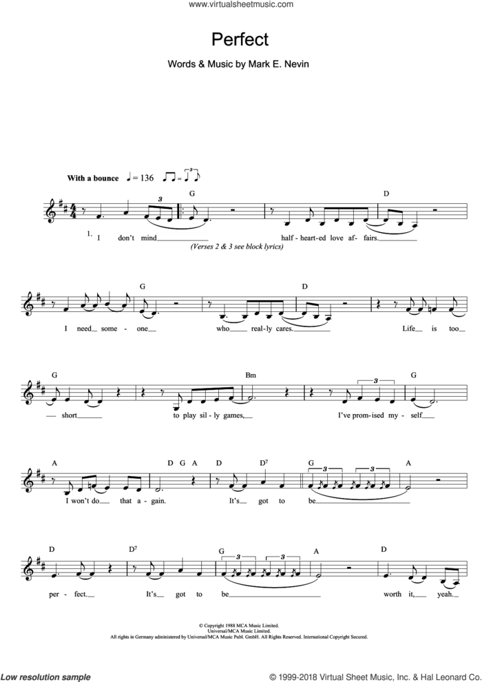 Perfect sheet music for voice and other instruments (fake book) by Fairground Attraction and Mark E. Nevin, intermediate skill level