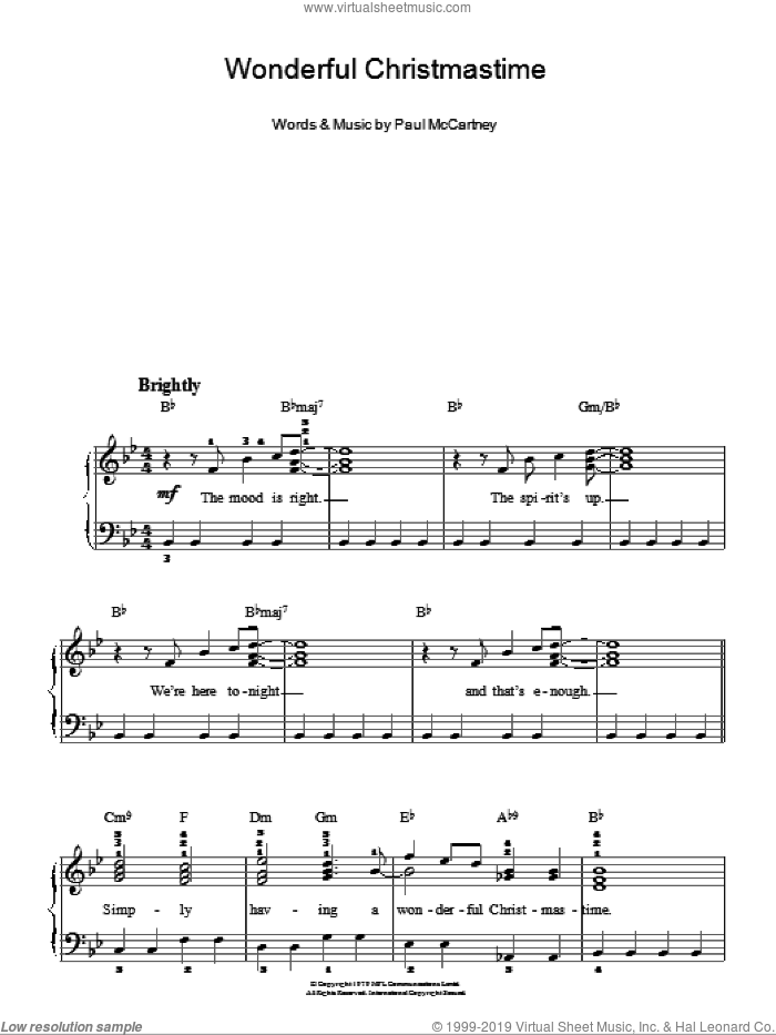 Wonderful Christmastime sheet music for piano solo by Paul McCartney, easy skill level