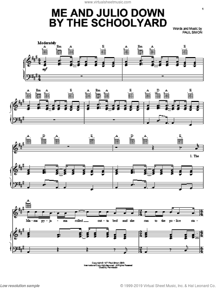Me And Julio Down By The Schoolyard sheet music for voice, piano or guitar by Paul Simon, intermediate skill level