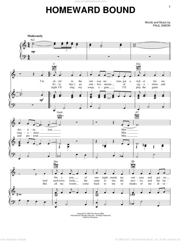 Homeward Bound sheet music for voice, piano or guitar by Simon & Garfunkel and Paul Simon, intermediate skill level