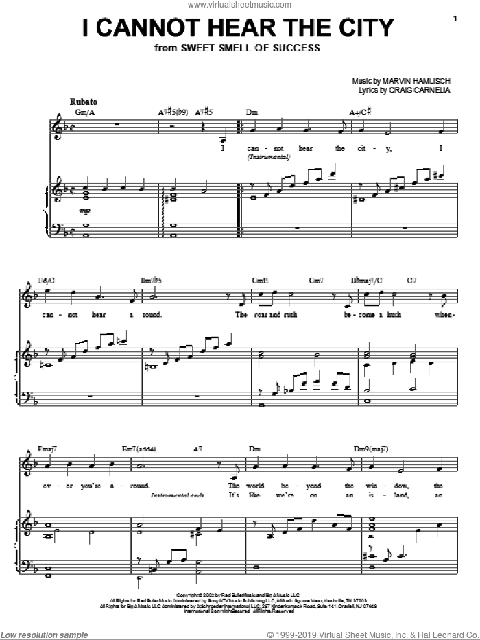I Cannot Hear The City sheet music for voice and piano by Craig Carnelia, Sweet Smell Of Success (Musical) and Marvin Hamlisch, intermediate skill level