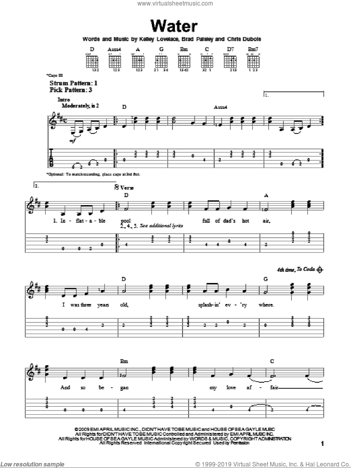 Water sheet music for guitar solo (easy tablature) by Brad Paisley, Chris DuBois and Kelley Lovelace, easy guitar (easy tablature)