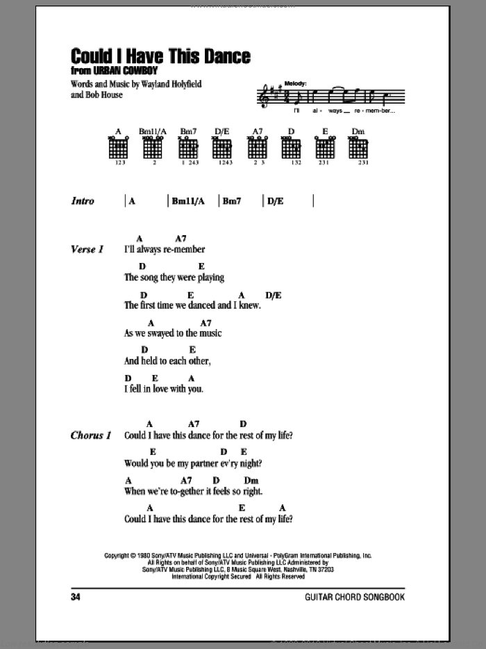 Could I Have This Dance sheet music for guitar (chords) by Anne Murray, Bob House and Wayland Holyfield, wedding score, intermediate skill level