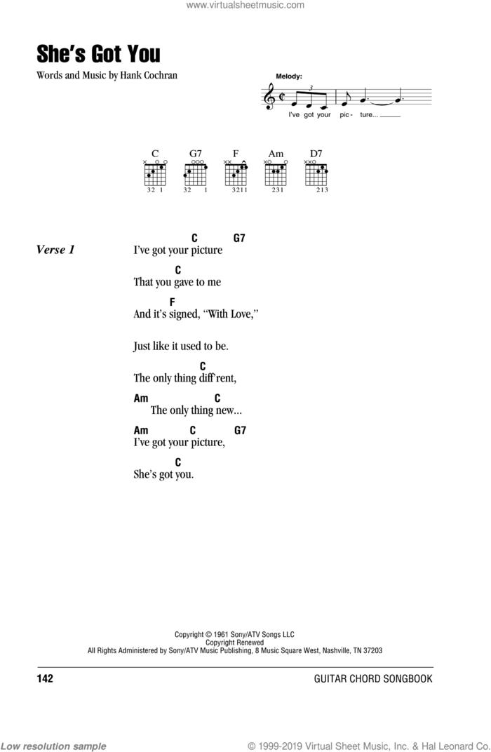 She's Got You sheet music for guitar (chords) by Patsy Cline, Loretta Lynn and Hank Cochran, intermediate skill level