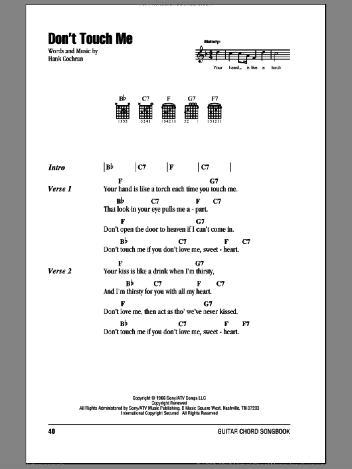 Don't Touch Me sheet music for guitar (chords) by Hank Cochran, intermediate skill level