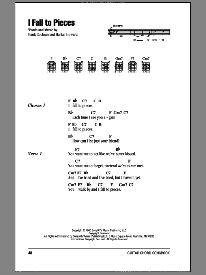 I Fall To Pieces sheet music for guitar (chords) by Patsy Cline, Hank Cochran and Harlan Howard, intermediate skill level