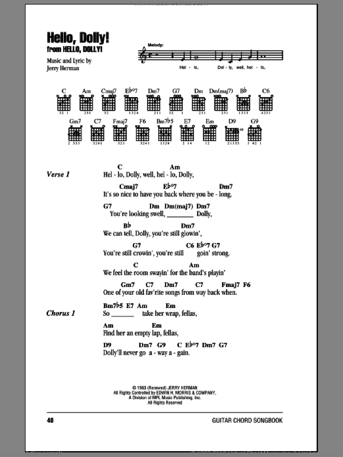 Hello, Dolly! sheet music for guitar (chords) by Louis Armstrong, Hello, Dolly! (Musical) and Jerry Herman, intermediate skill level