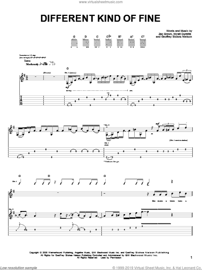 Different Kind Of Fine sheet music for guitar solo (chords) by Zac Brown Band, Geoffrey Stokes Nielson, Wyatt Durrette and Zac Brown, easy guitar (chords)