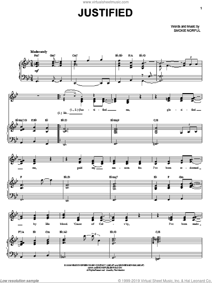 Justified sheet music for voice and piano by Smokie Norful, intermediate skill level
