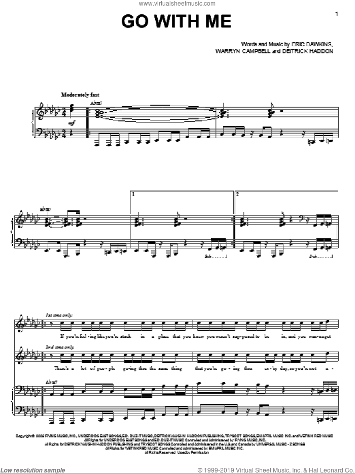 Go With Me sheet music for voice and piano by Deitrick Haddon, Eric Dawkins and Warryn Campbell, intermediate skill level