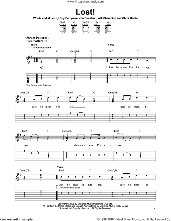 Lost! sheet music for guitar solo (easy tablature) by Coldplay, Chris Martin, Guy Berryman, Jon Buckland and Will Champion, easy guitar (easy tablature)