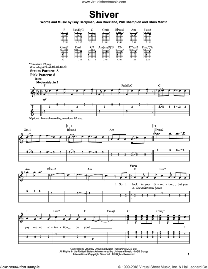 Shiver sheet music for guitar solo (easy tablature) by Coldplay, Chris Martin, Guy Berryman, Jon Buckland and Will Champion, easy guitar (easy tablature)