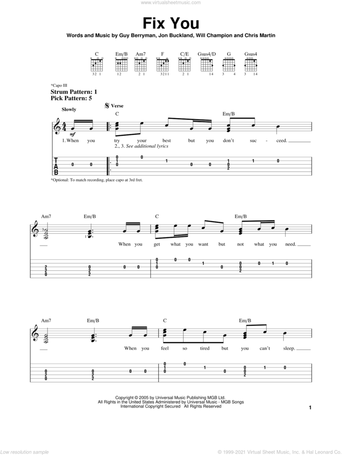 Fix You sheet music for guitar solo (easy tablature) by Coldplay, Chris Martin, Guy Berryman, Jon Buckland and Will Champion, easy guitar (easy tablature)