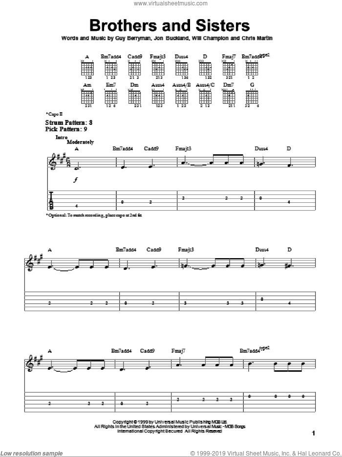 Brothers And Sisters sheet music for guitar solo (easy tablature) by Coldplay, Chris Martin, Guy Berryman, Jon Buckland and Will Champion, easy guitar (easy tablature)