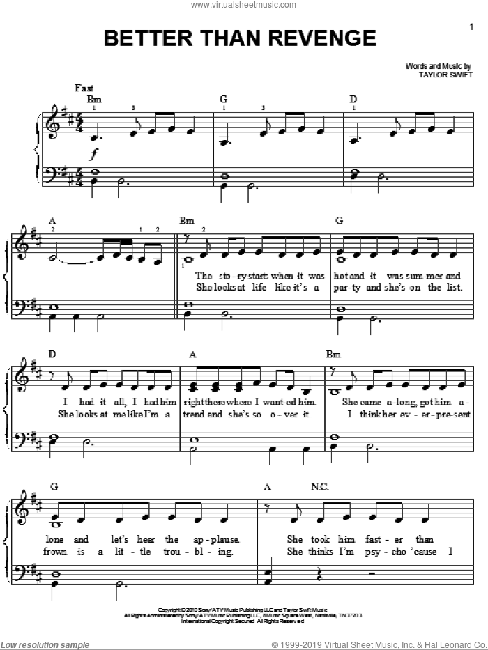 Better Than Revenge sheet music for piano solo by Taylor Swift, easy skill level