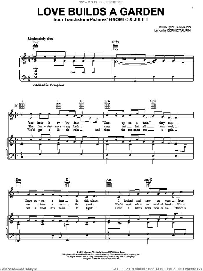 Love Builds A Garden sheet music for voice, piano or guitar by Elton John, Gnomeo & Juliet (Movie), Bernie Taupin and James Newton Howard, intermediate skill level