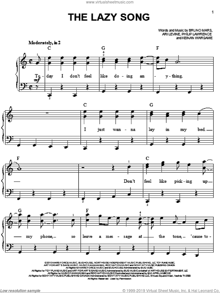 The Lazy Song sheet music for piano solo by Bruno Mars, Ari Levine, Keinan Warsame and Philip Lawrence, easy skill level