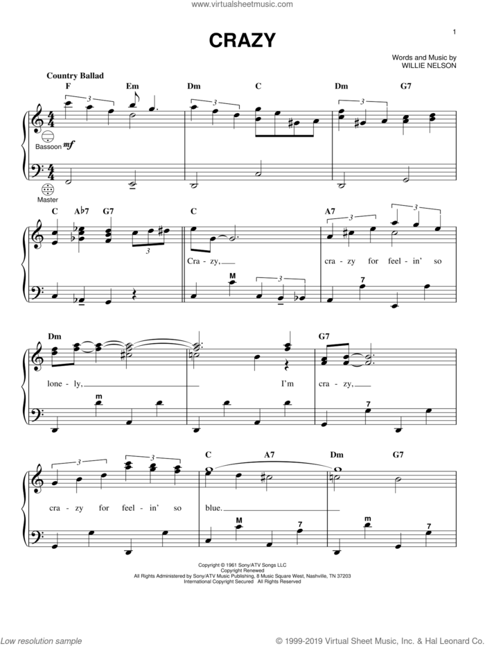 Crazy sheet music for accordion by Willie Nelson, Gary Meisner and Patsy Cline, intermediate skill level