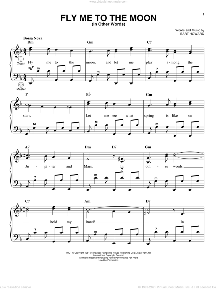 Fly Me To The Moon (In Other Words) sheet music for accordion by Frank Sinatra, Tony Bennett and Bart Howard, wedding score, intermediate skill level