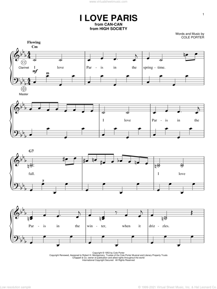 I Love Paris sheet music for accordion by Cole Porter and Gary Meisner, intermediate skill level