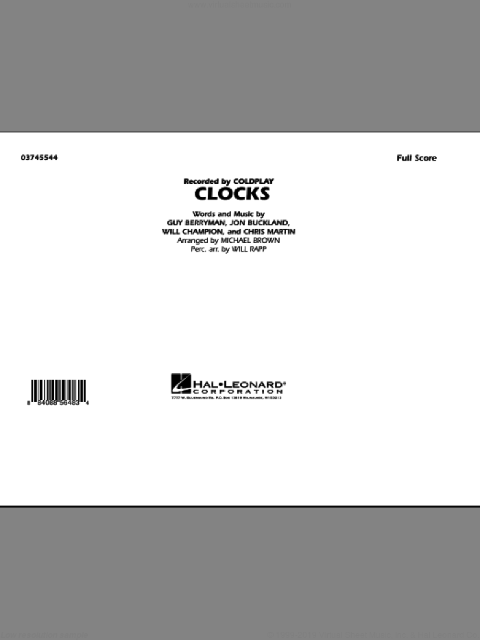 Clocks (COMPLETE) sheet music for marching band by Guy Berryman, Chris Martin, Jon Buckland, Will Champion, Coldplay, Michael Brown and Will Rapp, intermediate skill level