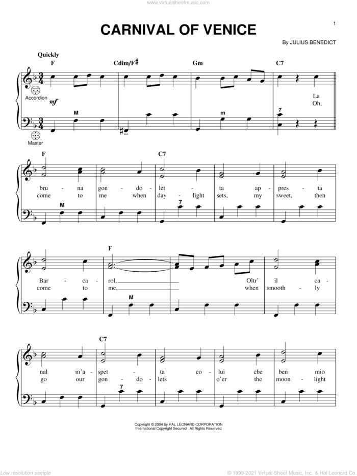 Carnival Of Venice sheet music for accordion by Julius Benedict, classical score, intermediate skill level