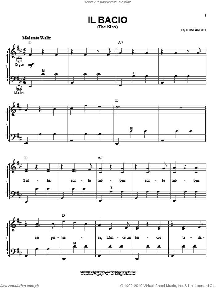 Il Bacio (The Kiss) sheet music for accordion by Luigi Arditi, intermediate skill level