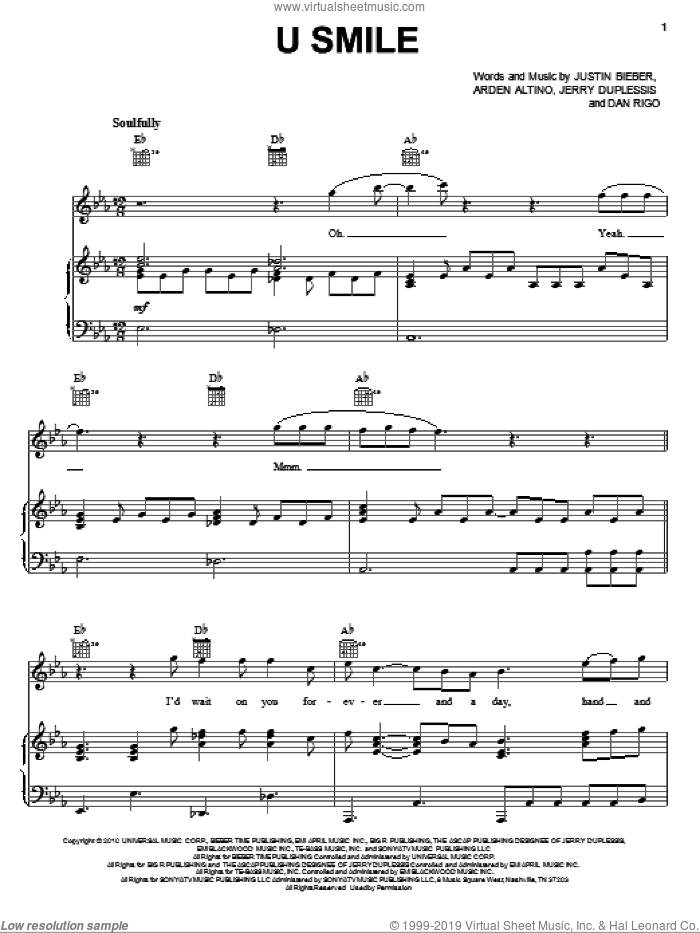 U Smile sheet music for voice, piano or guitar by Justin Bieber, Arden Altino, Dan Rigo and Jerry Duplessis, intermediate skill level