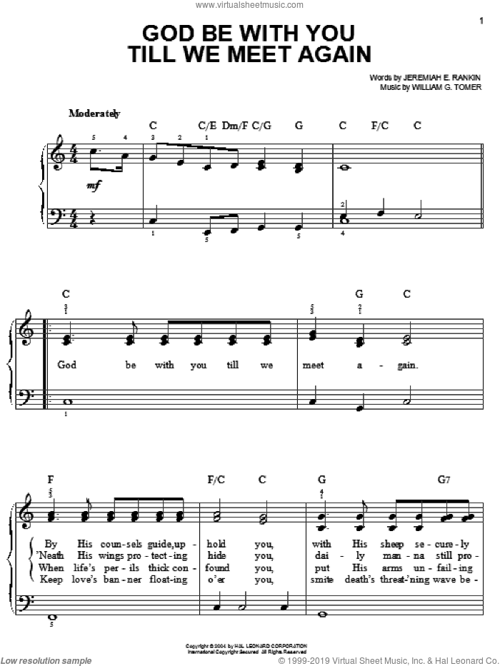 God Be With You Till We Meet Again sheet music for piano solo by Jeremiah E. Rankin and William G. Tomer, easy skill level