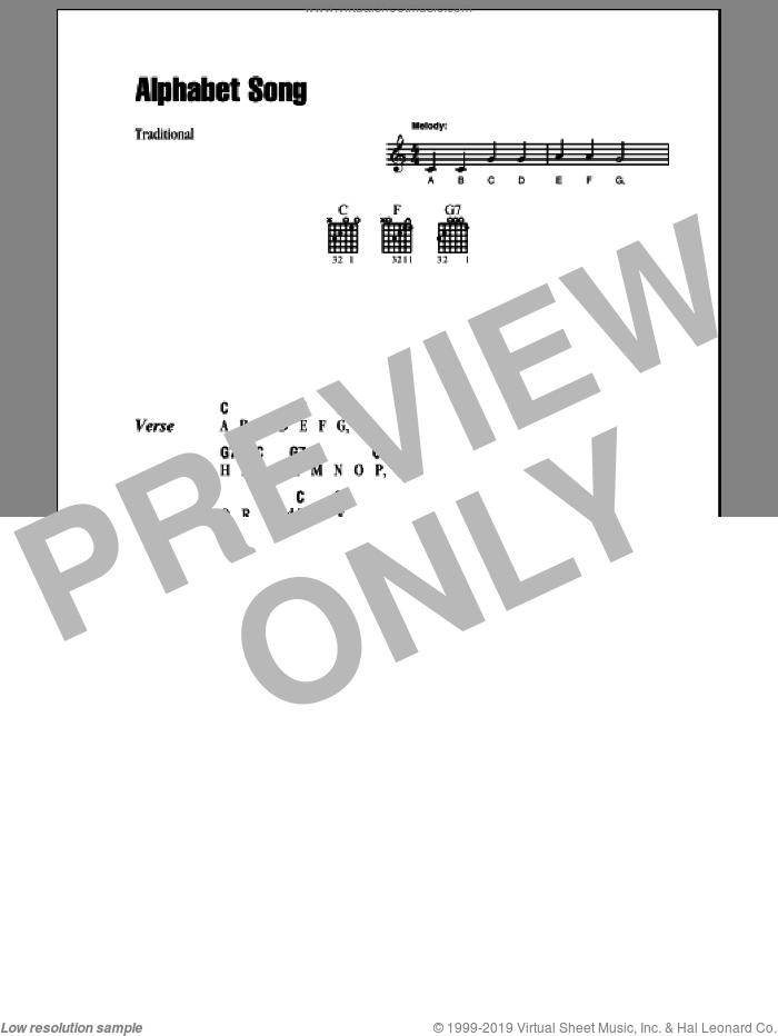 Alphabet Song sheet music for guitar (chords), intermediate skill level