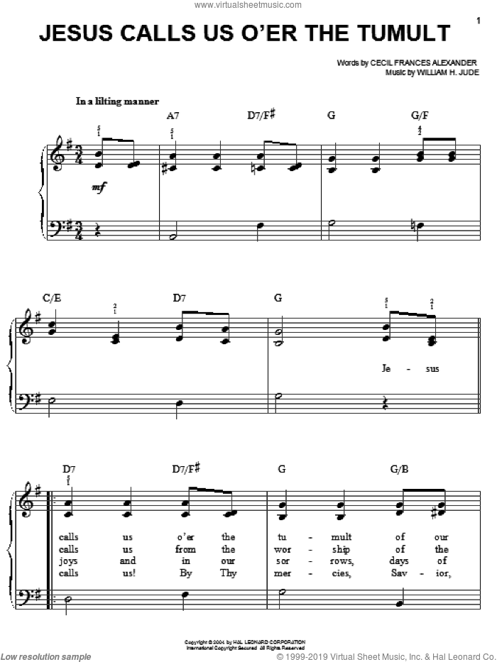 Jesus Calls Us O'er The Tumult sheet music for piano solo by Cecil Alexander and William H. Jude, classical score, easy skill level