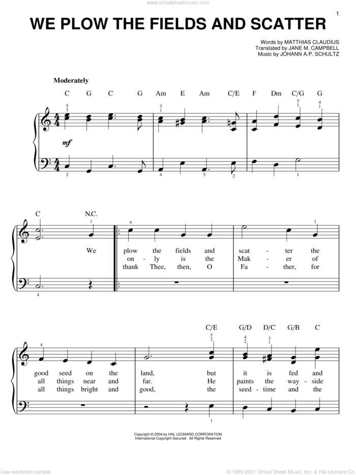 We Plow The Fields And Scatter sheet music for piano solo by Matthias Claudius, Jane M. Campbell and Johann A.P. Schultz, easy skill level