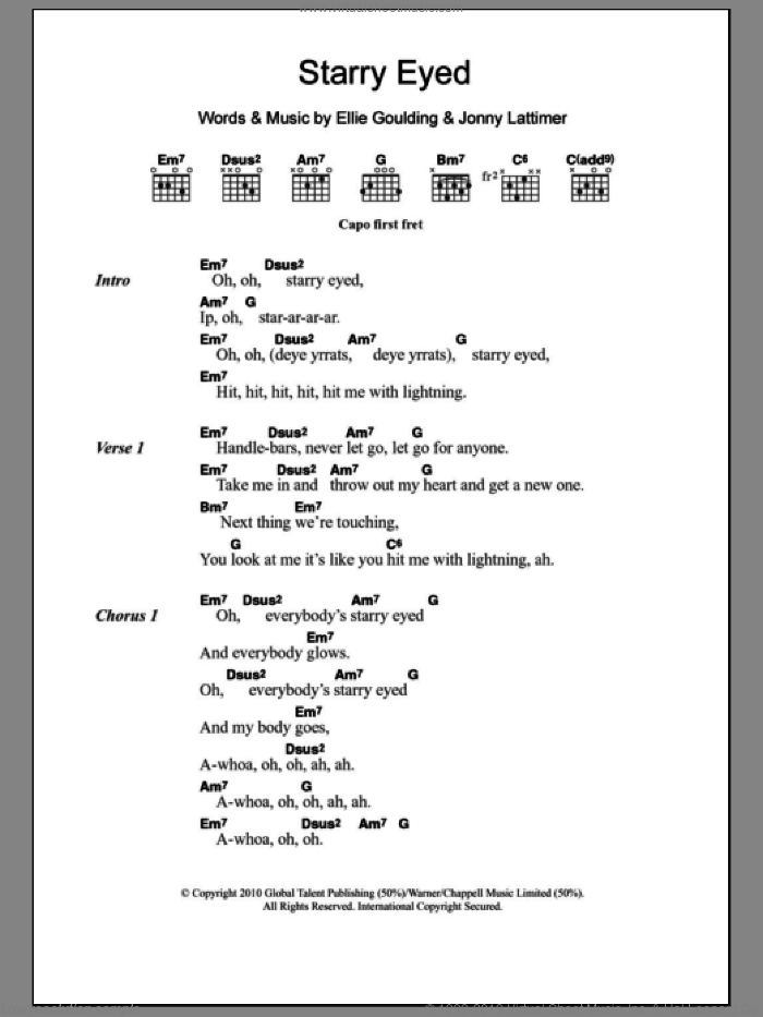 Starry Eyed sheet music for guitar (chords) by Ellie Goulding and Jonny Lattimer, intermediate skill level
