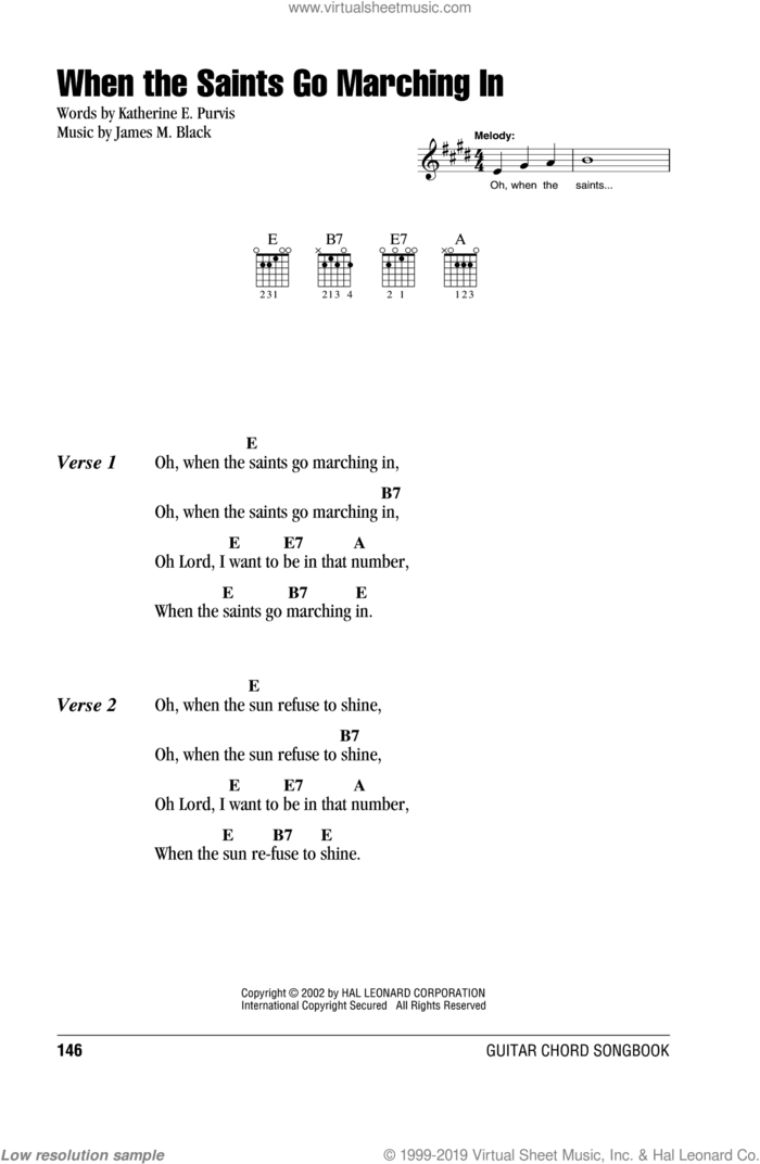 When The Saints Go Marching In sheet music for guitar (chords) by Louis Armstrong, James M. Black and Katherine E. Purvis, intermediate skill level