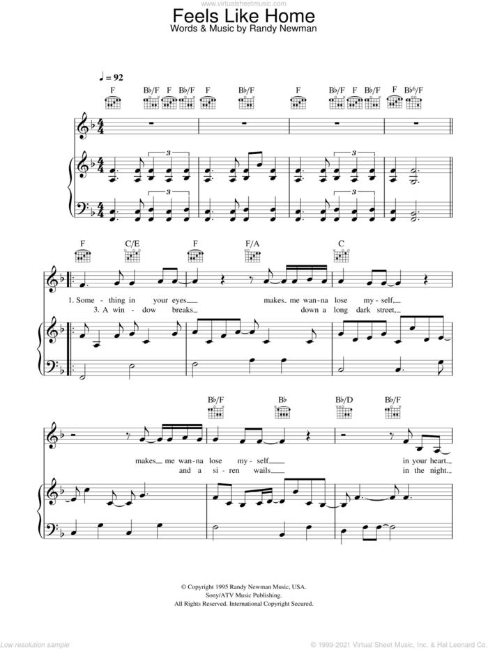 Feels Like Home sheet music for voice, piano or guitar by Randy Newman, Bonnie Raitt, Chantal Kreviazuk and Linda Ronstadt, intermediate skill level