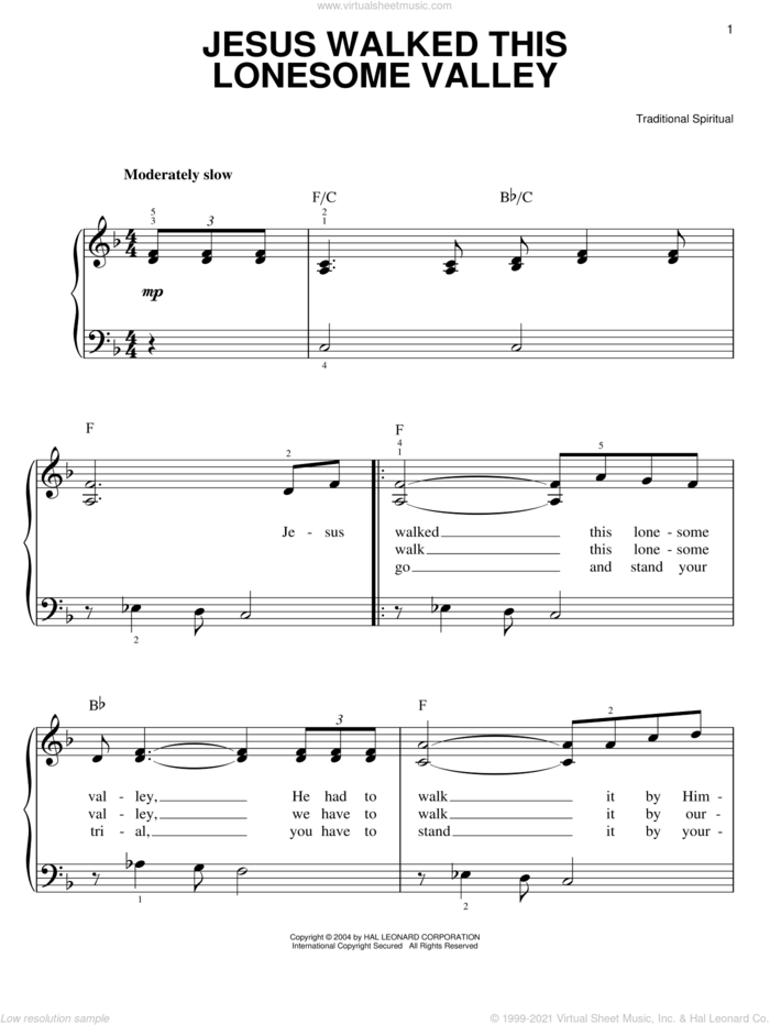 Jesus Walked This Lonesome Valley (Myers) sheet music for piano solo, classical score, easy skill level