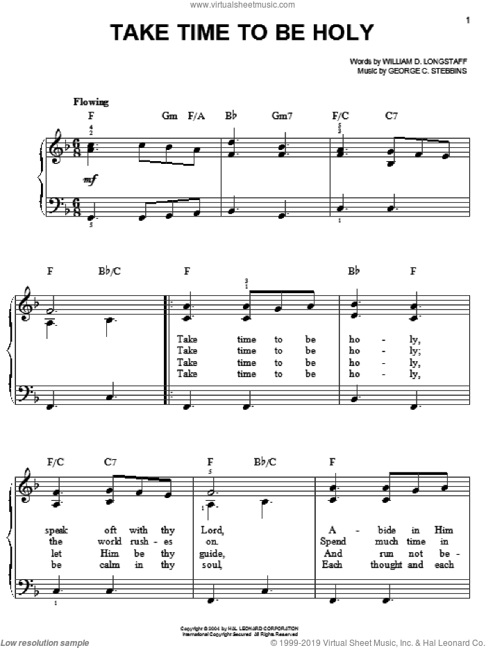 Take Time To Be Holy sheet music for piano solo by William D. Longstaff and George C. Stebbins, classical score, easy skill level