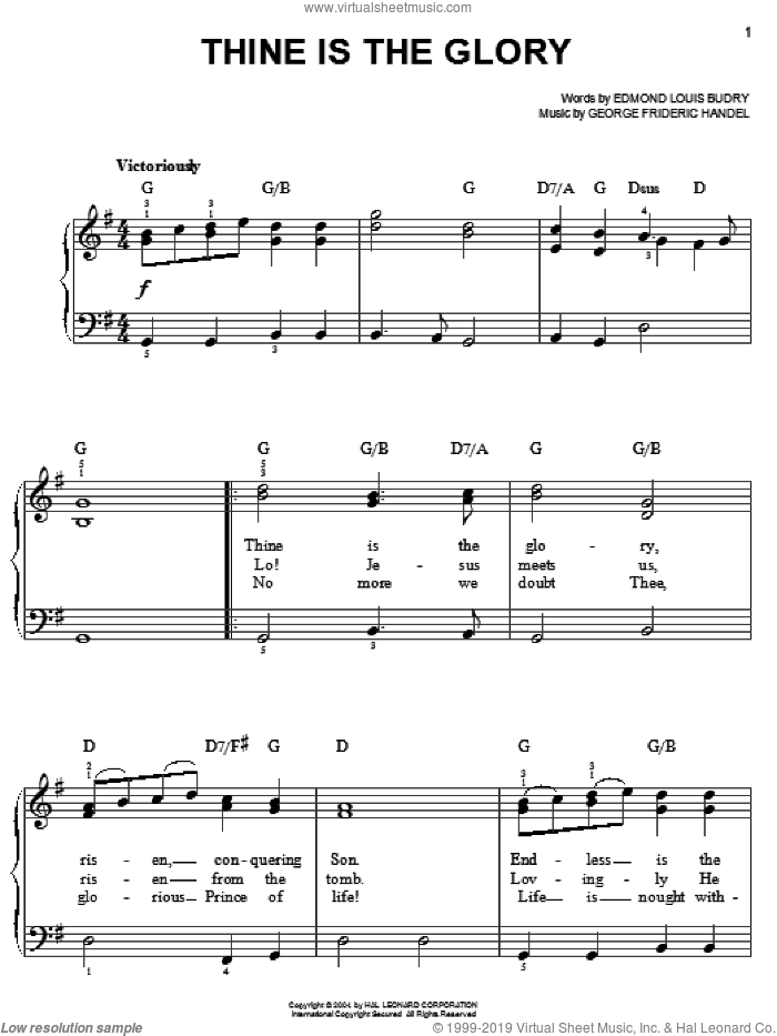 Thine Is The Glory, (easy) sheet music for piano solo by George Frideric Handel, Edmund Louis Budry and Richard Birch Hoyle, easy skill level
