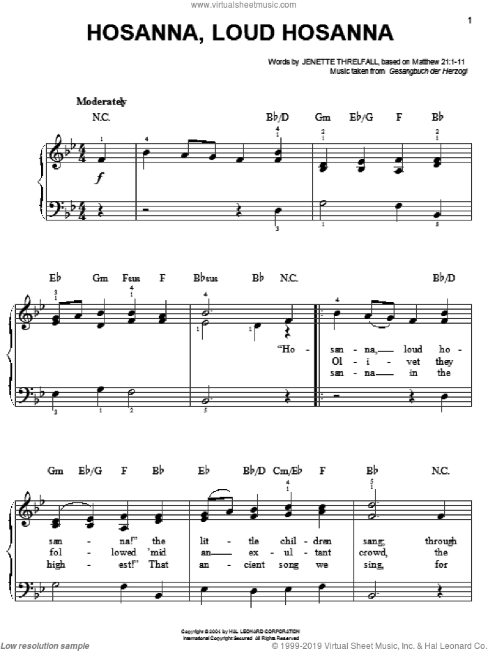 Hosanna, Loud Hosanna sheet music for piano solo by Jennette Threlfall and Gesangbuch der Herzogl, easy skill level