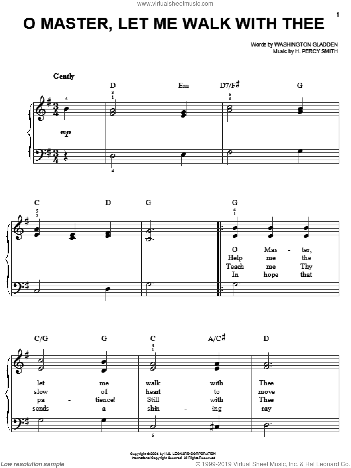 O Master, Let Me Walk With Thee sheet music for piano solo by Washington Gladden and H. Percy Smith, easy skill level