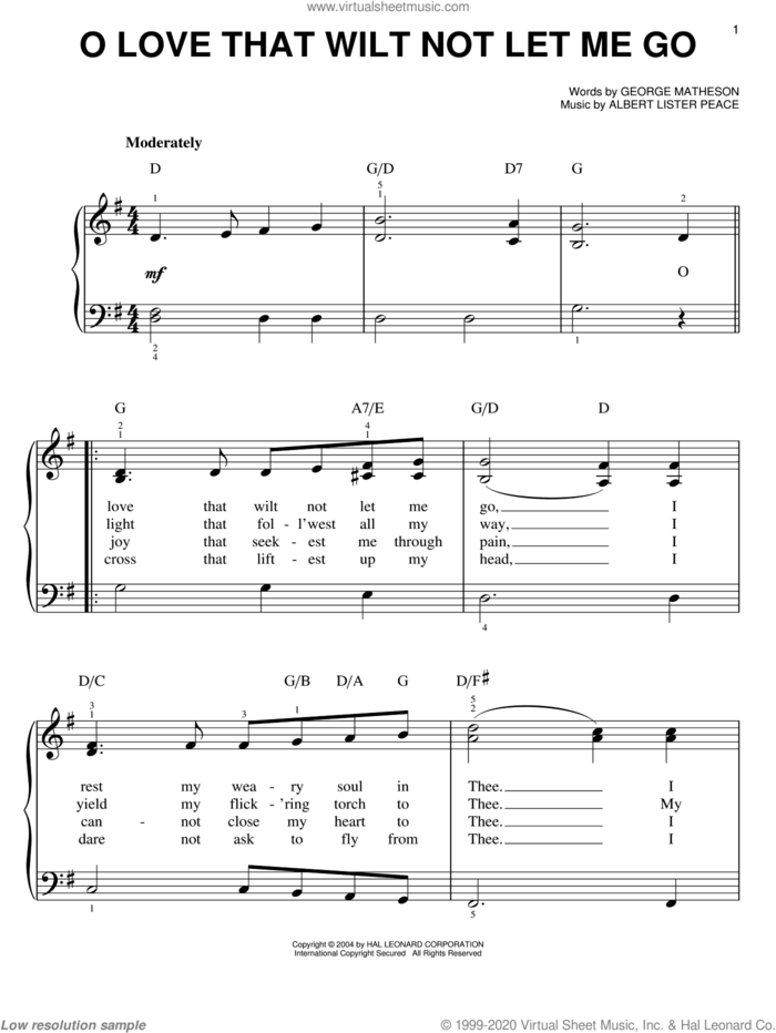 O Love That Wilt Not Let Me Go sheet music for piano solo by George Matheson and Albert Lister Peace, easy skill level