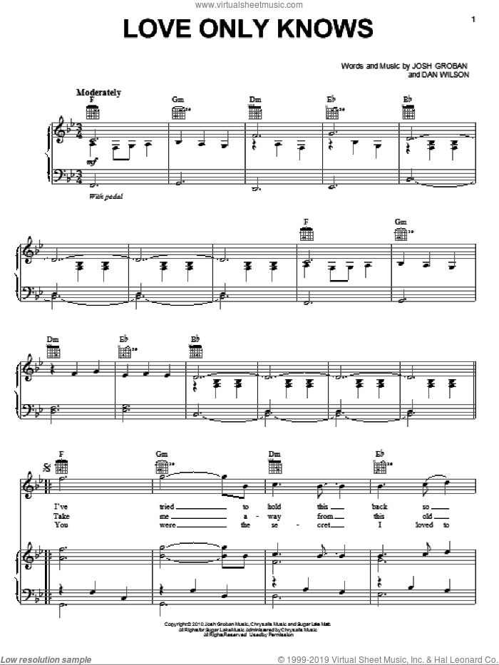 Love Only Knows sheet music for voice, piano or guitar by Josh Groban and Dan Wilson, intermediate skill level