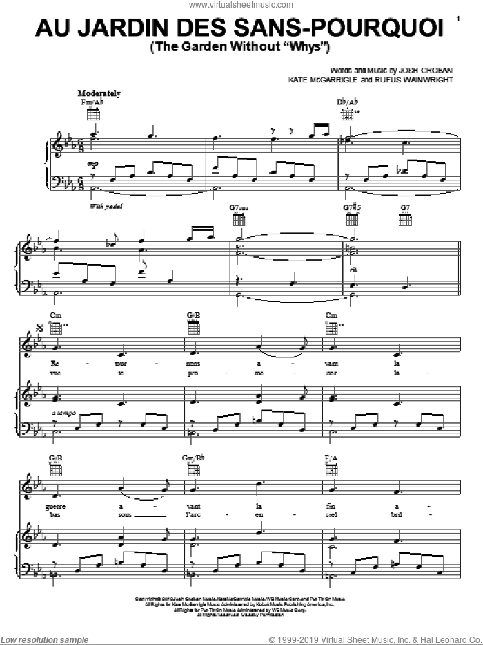 Au Jardin Des Sans-Pourquoi (The Garden Without 'Whys') sheet music for voice, piano or guitar by Josh Groban, Kate McGarrigle and Rufus Wainwright, intermediate skill level
