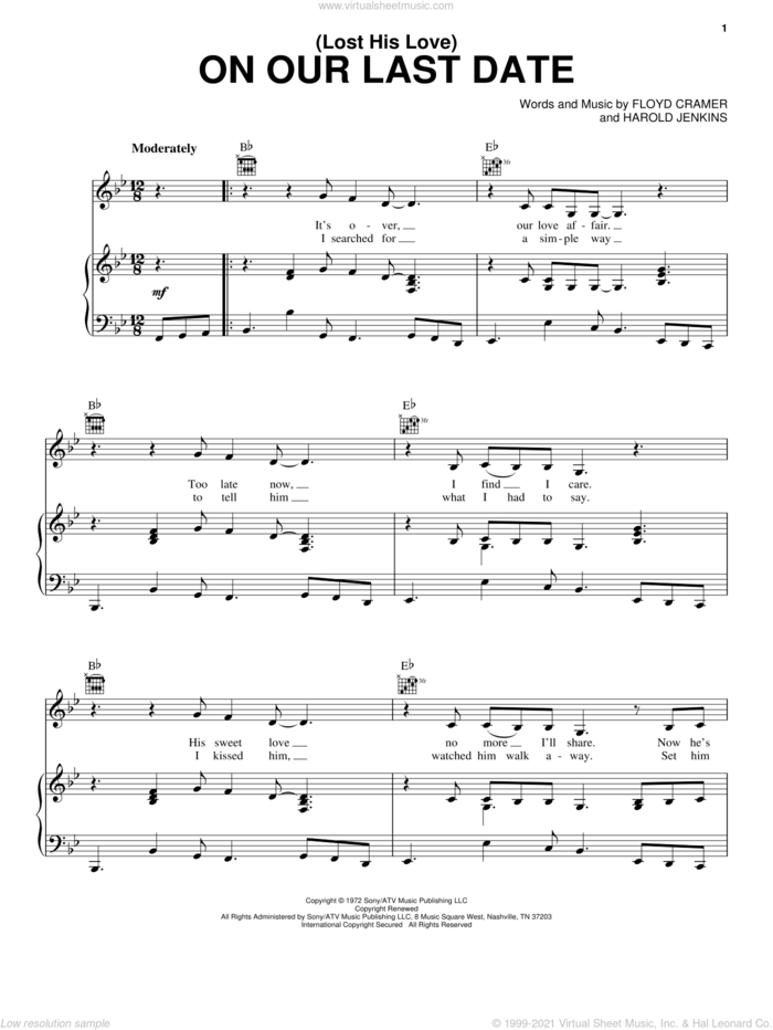 (Lost Her Love) On Our Last Date sheet music for voice, piano or guitar by Emmylou Harris, Conway Twitty, Floyd Cramer and Harold Jenkins, intermediate skill level