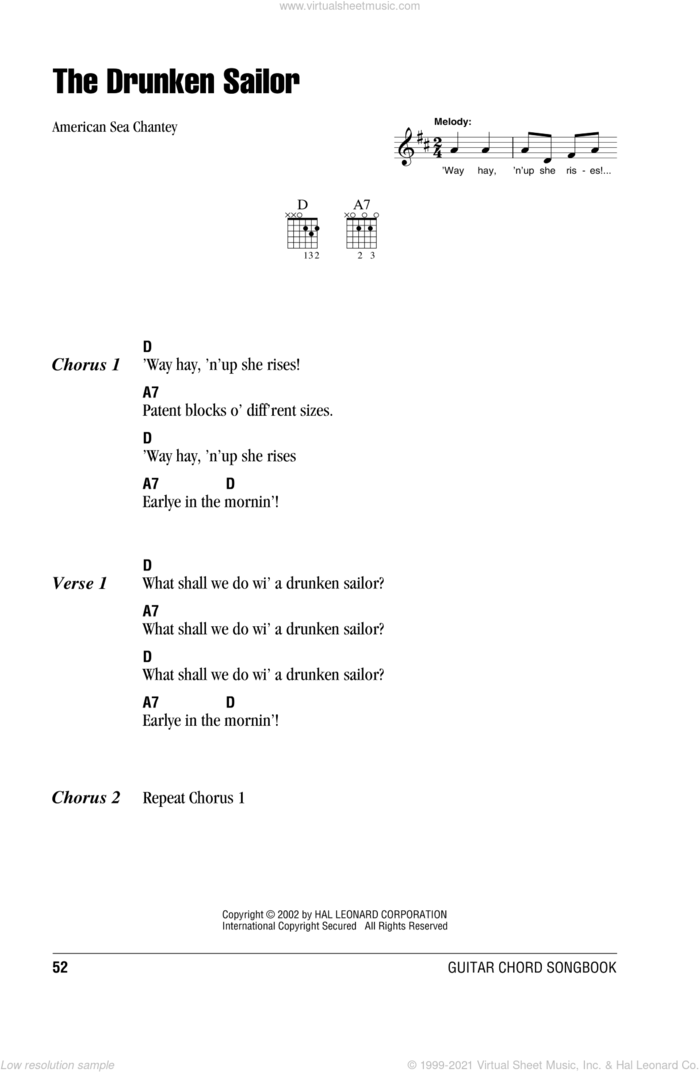 What Shall We Do With The Drunken Sailor sheet music for guitar (chords) by American Sea Chantey and Miscellaneous, intermediate skill level