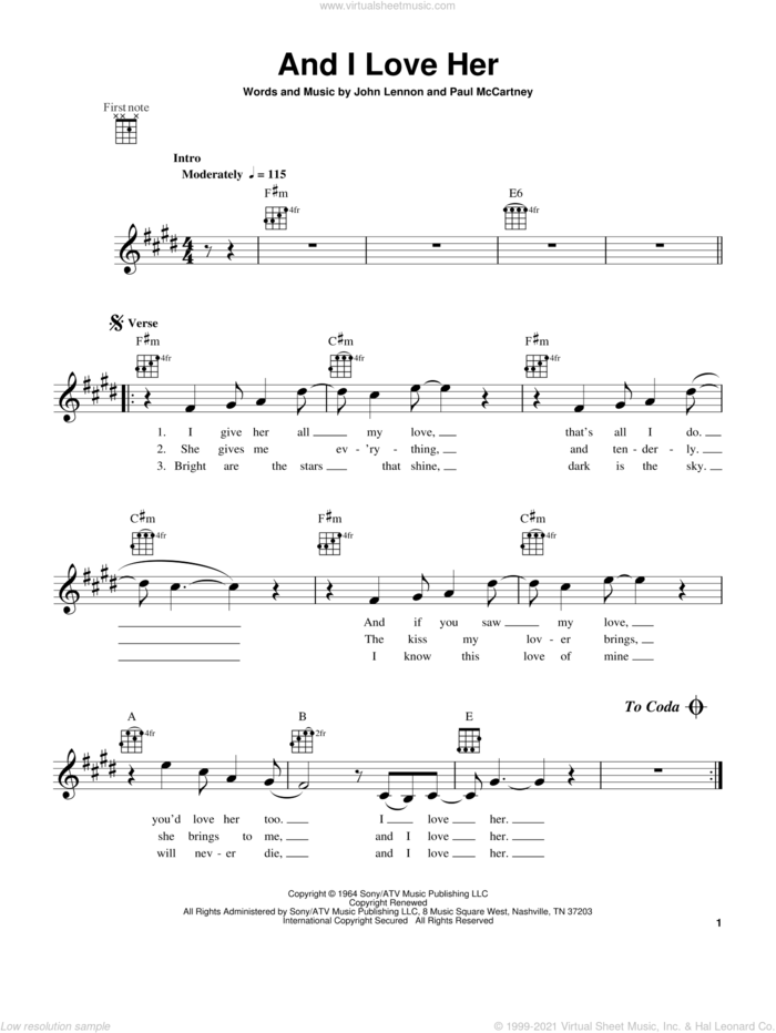And I Love Her sheet music for ukulele by The Beatles, John Lennon and Paul McCartney, wedding score, intermediate skill level