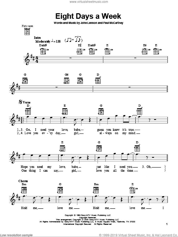 Eight Days A Week sheet music for ukulele by The Beatles, John Lennon and Paul McCartney, intermediate skill level
