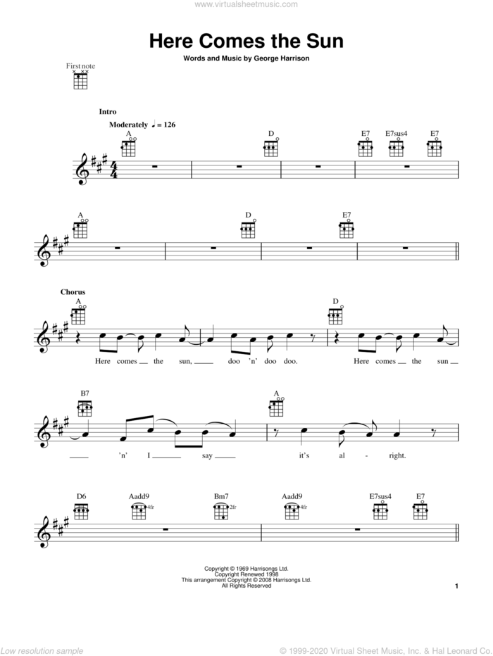 Here Comes The Sun sheet music for ukulele by The Beatles and George Harrison, intermediate skill level