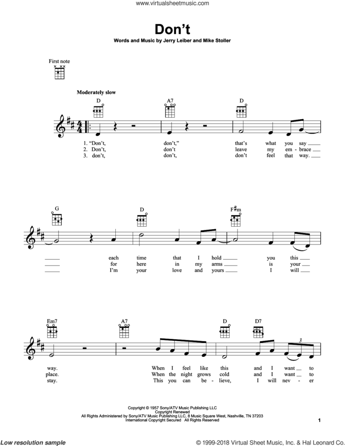 Don't sheet music for ukulele by Elvis Presley, Jerry Leiber and Mike Stoller, intermediate skill level