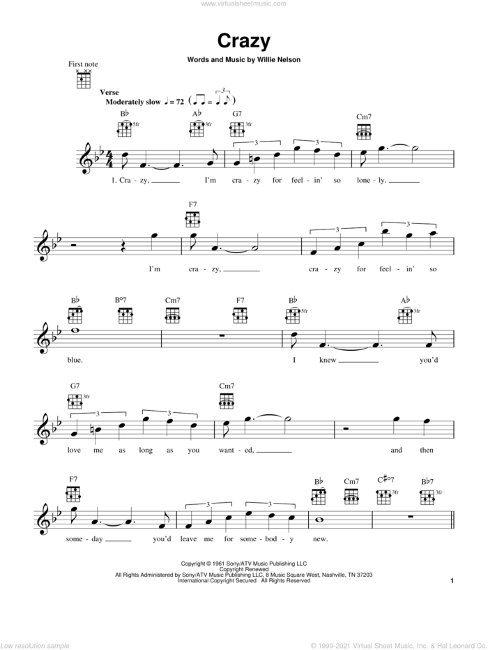 Crazy sheet music for ukulele by Willie Nelson and Patsy Cline, intermediate skill level